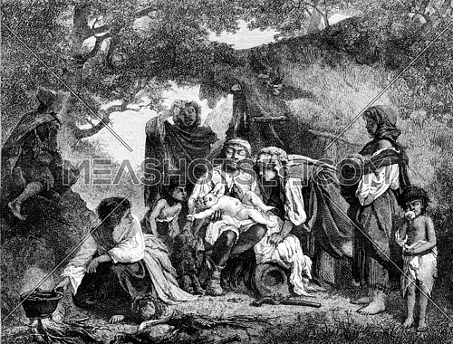 1861 Exhibition of Painting, The child steals, vintage engraved illustration. Magasin Pittoresque 1861.