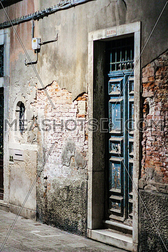 house door in an old alley in venice