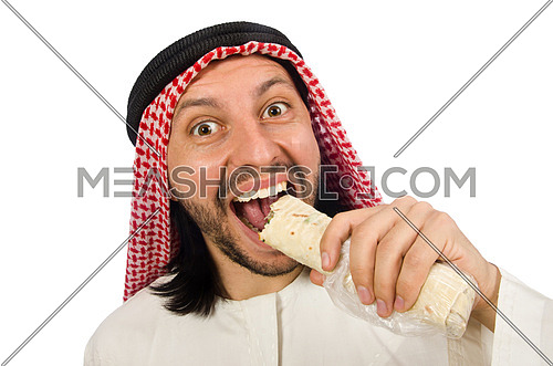 Arab man eating wrap isolated on white