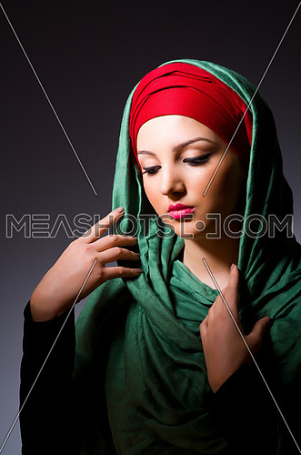 Muslim woman with headscarf in fashion concept
