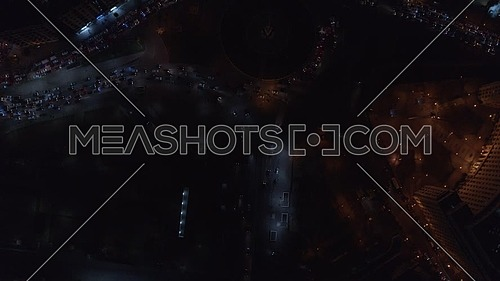 Fly over tahrir square bird eye view in Cairo at night - December 2018.