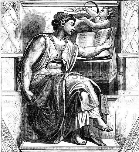 Michelangelo, his life and his works, the Table forty years, vintage engraved illustration. Magasin Pittoresque 1878.