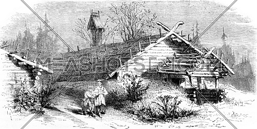 House (hut) in the north of Russia, vintage engraved illustration. Le Tour du Monde, Travel Journal, (1872).