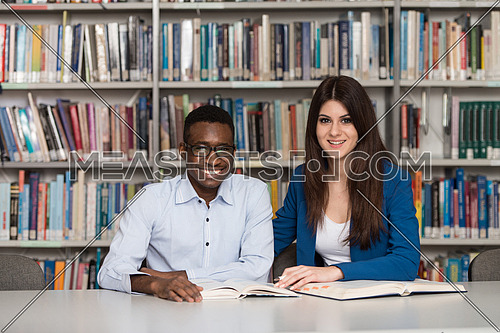 Portrait Of Clever Students With Open Book Reading It In College Library - Shallow Depth Of Field
