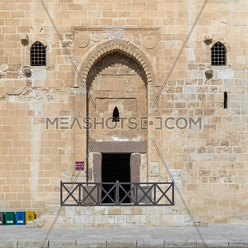 Entrance of the main tower of the Citadel of Qaitbay, a 15th century defensive fortress located on the Mediterranean sea coast,Alexandria, Egypt