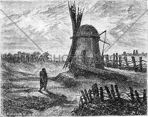 A mill near Dorpat, vintage engraved illustration. Le Tour du Monde, Travel Journal, (1865).
