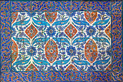 Ottoman era style glazed ceramic tiles from Iznik (Turkey) decorated with floral ornamentations, From the Museum Of Islamic Art holdings, Cairo, Egypt