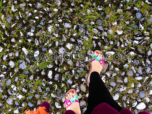 A girl's feet wearing fashionable slippers on a stone ground
