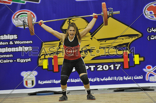Algerian player Bouchra Hirsch at final of the Arab-Asian Weightlifting Championship hosted by Egypt from 20 to 23 December 2017 at the Cairo Stadium