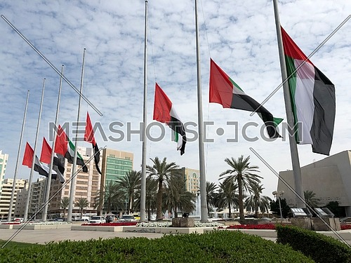 UAE Flags Half-mast or half-staff during three days mourning period