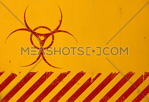 Dark red biohazard warning sign painted over grunge yellow background with copy space
