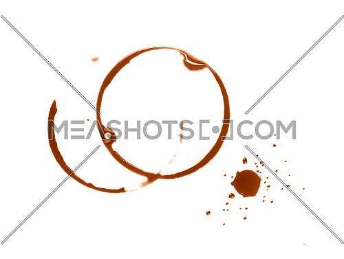 Close up brown circle ring and blob drops wet stains of coffee cup isolated on white background