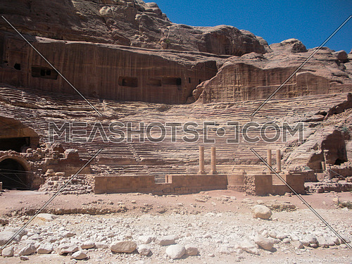 A view of one of the old remains that seems like a roman stage at Petra historical site, Jordan
