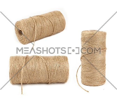 Three different angles of big coil bobbin of natural brown twine hessian burlap jute rope over white background