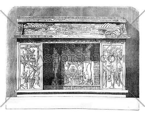 View of Mexican sculpture, made after a drawing Palenque in 1840, vintage engraved illustration. Magasin Pittoresque 1842.