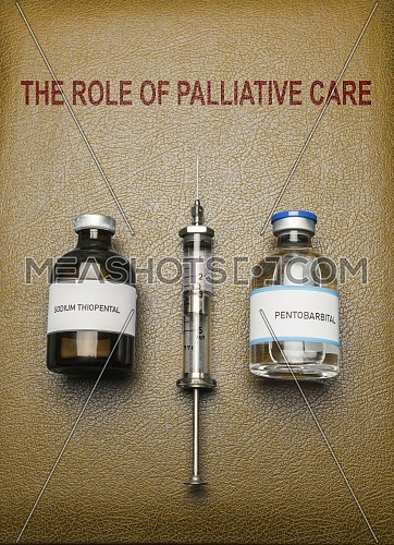 Book of The role of palliative care, vials of sodium thiopental anesthesia and pentobarbital, concept on euthanasia, composition digital imaginary