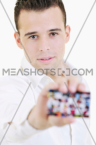 happy young business man with empty card isolated on white