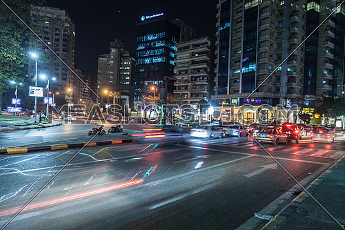 Close shot for Traffic Lights at Moustafa Mahmoud Square at Cairo at Night