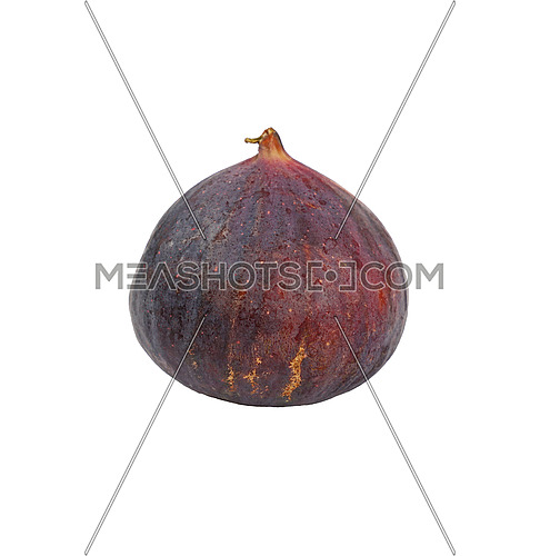 Close up one fresh whole ripe fig fruit isolated on white background, low angle side view