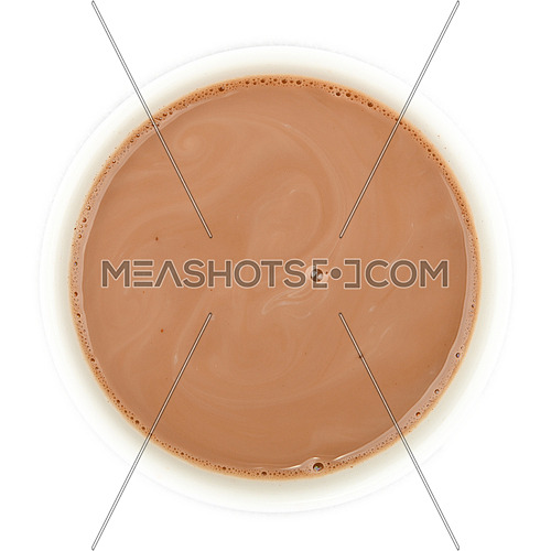 Close up cocoa hot chocolate cup top isolated on white background, top view, directly above