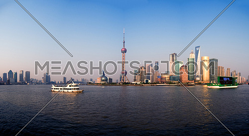 shanghai pudong finacial district wide panoramic view