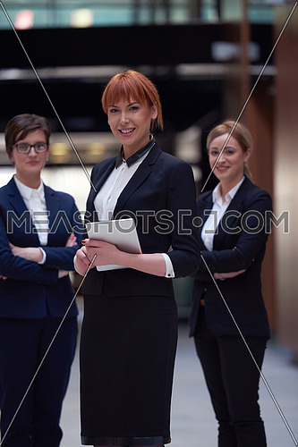 young business woman group,  team standing in modern bright office and working on tablet computer