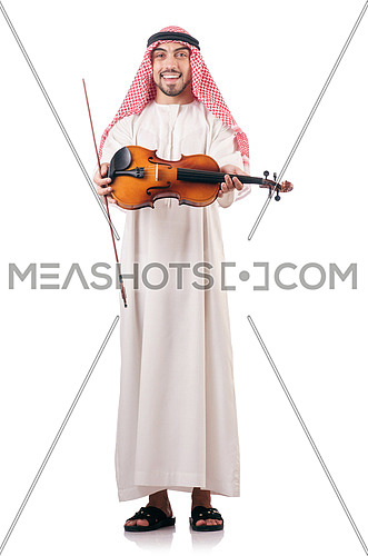 Arab man playing violin isolated on white