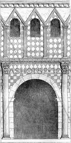 Architecture of the eighth century, Porch of the atrium of the church of Lorsch, vintage engraved illustration. Magasin Pittoresque 1861.