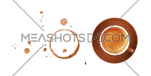 Brown cup full of espresso coffee on saucer, with ring coffee stains and drops isolated on white background, elevated top view, directly above