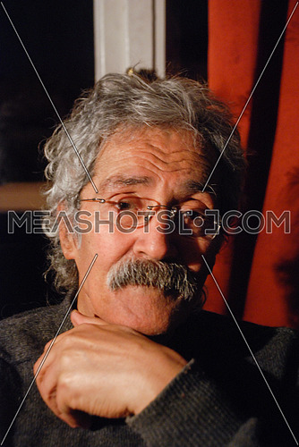A portrait of the late Egyptian novelist Ibrahim Aslan on October 22, 2010 in his home