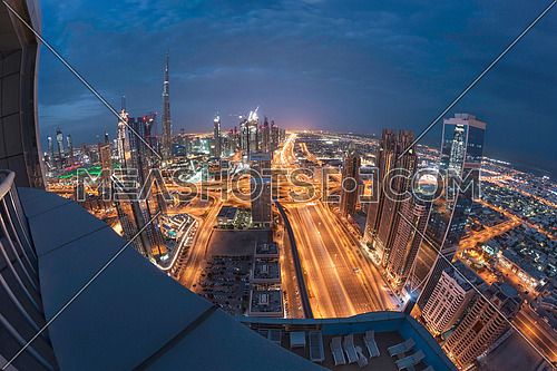 Dubai downtown sunrise Top View