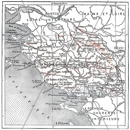 Map of department of the Vendee, vintage engraved illustration. Dictionary of words and things - Larive and Fleury - 1895.