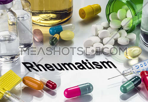 Rheumatism. medicines as concept of ordinary treatment, conceptual image
