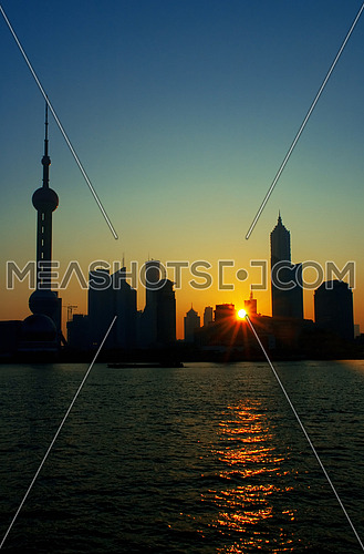 china shanghai pudong skyline at summer sunrise