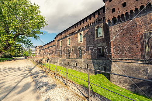 Old medieval Sforza Castle,sunny day and clouds,Milan ,Italy.