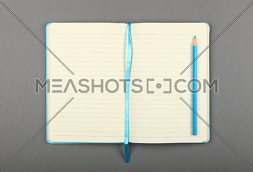 One open leather cover notebook with blue pencil over grey paper background, flat lay, directly above