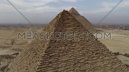 Reveal Shot for The Great Pyramids of Giza Area in Giza by day.