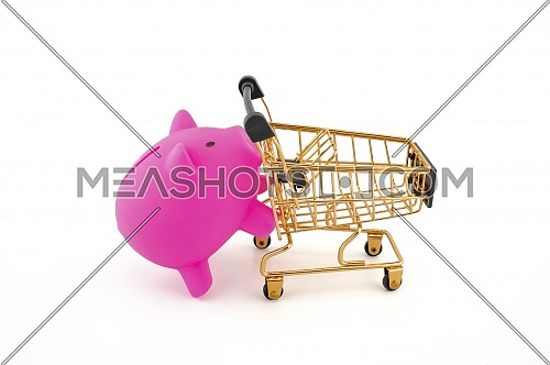Pink pig saver and shopping cart isolated on a white background