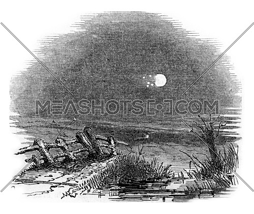Meteor of 18th August 1789, as seen from Windsor, vintage engraved illustration.