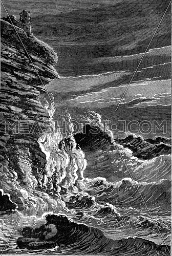 The Storm, vintage engraved illustration. Earth before man – 1886.