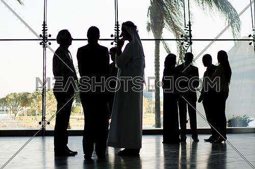 Group of standing in a business meeting