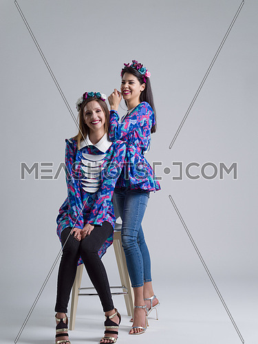 two Fashion Model girls isolated over white background. Beauty stylish women posing in fashionable clothes  Casual style with beauty accessories. High fashion urban style