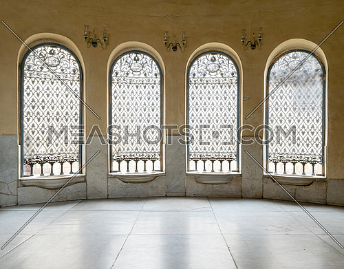 Interior of Sabil with four windows with iron ornate grids and white marble floor, Mosque of Soliman Agha El-Selehdar, Cairo, Egypt