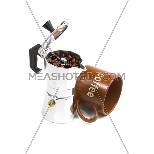 mocha coffee machine and cup isolated on white background