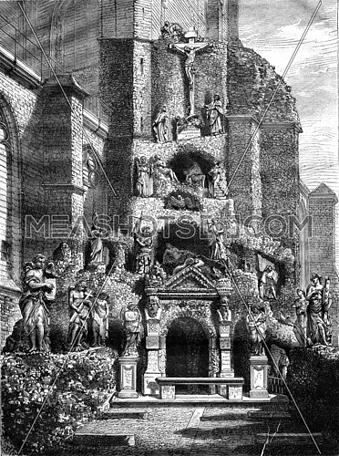 Calvary Church of St. Paul in Antwerp, vintage engraved illustration. Magasin Pittoresque 1876.