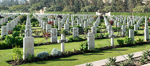 Commonwealth War Cemetery, contains 1742 burials of the Second World War, opened in October 1941 Cairo, Egypt - December 7, 2016: Heliopolis