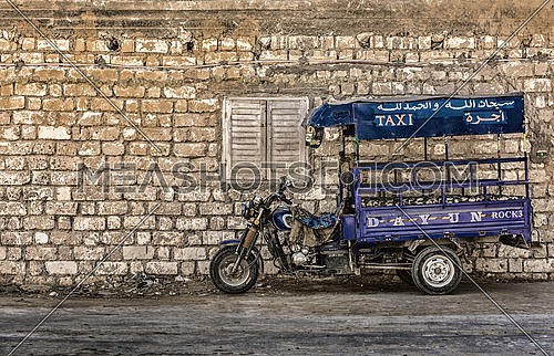 a Transport taxi in a rural area in egypt