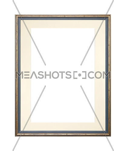 Vintage old wooden classic golden and grey painted vertical rectangular frame with beige cardboard mat (passe partout mount) for picture or photo, isolated on white background, close up