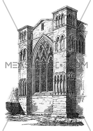 View of the east end of Oxford Cathedral, vintage engraved illustration. Colorful History of England, 1837.