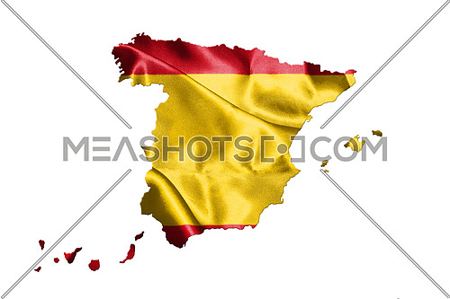 Map Of Spain With Spanish Flag On It Isolated On White Background 3D illustration